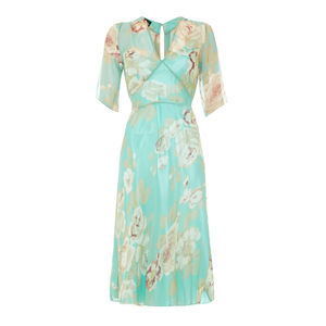Mae Dress In Aqua Rose Garden Georgette - women's fashion