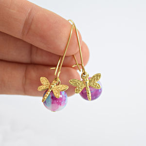 Dragonfly Charm With Ceramic Bead Hook Earrings