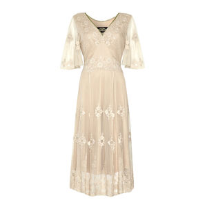 Ivory Lace Special Occasion Dress With Sleeves - wedding fashion
