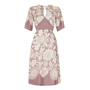 Tea Dress In Sweet Pea Lace Stencil Print Crepe