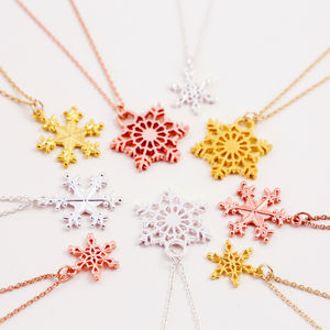 Mixed Metal Snowflake Necklace