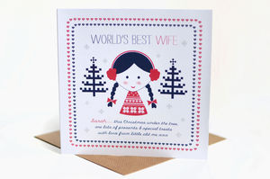 Personalised Wife/Girlfriend/Fiancee Christmas Card - cards & wrap