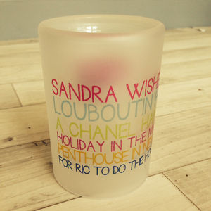 Personalised Wishes Tea Light Holder