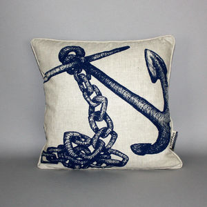 Hand Printed Anchor Cushion - bedroom