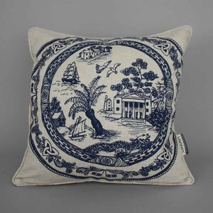 Hand Printed Cornish Willow Pattern Cushion