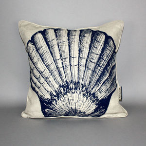 Hand Printed Scallop Shell Cushion - bedroom