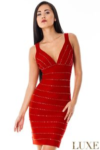 Figure Hugging Beaded Bodycon Party Dress - dresses