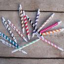 Set Of Four Stripey Paper Straw Pens