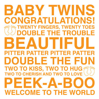 Baby Twins Sentiments Card