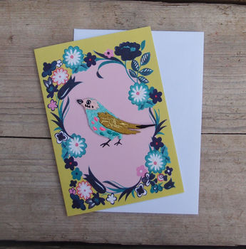 Embroidered Bird In Floral Frame Greeting Card