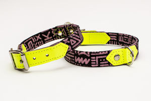 Kate Moross Limeade Neon Leather Dog Collar - walking