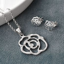 Sterling Silver Contemporary Rose Jewellery Set