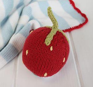 Vintage Style Knitted Strawberrry Rattle