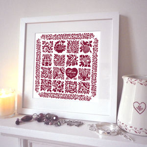 Personalised Christmas Quilt Heart Print