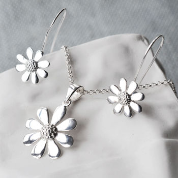 Silver Contemporary Daisy Jewellery Set