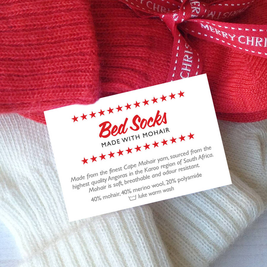 cosy christmas mohair / cashmere bed socks by quirky gift library