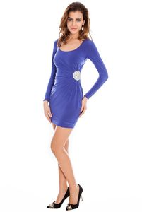 Diamonte Side Ruched Slinky Party Dress - dresses