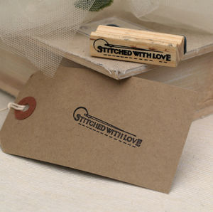 'Stitched With Love' Rubber Stamp - office & study