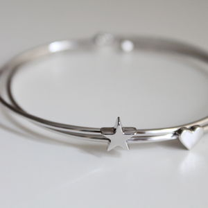 Sterling Silver Heart Or Star Bangle