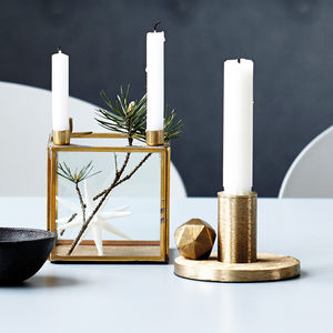 Square Brass Candle Stand - winter homeware