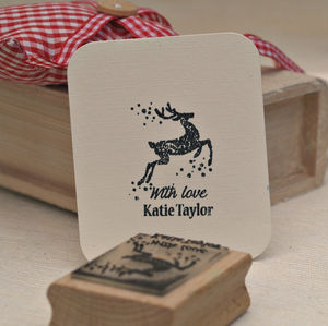 Christmas Reindeer Personalised Rubber Stamp - summer sale