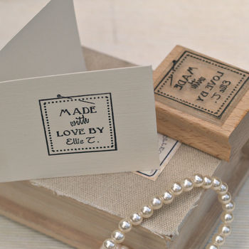 'Made With Love By..' Label Style Rubber Stamp