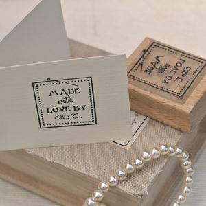 'Made With Love By..' Label Style Rubber Stamp - stationery