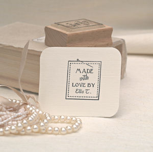 'Made With Love By..' Label Style Rubber Stamp - home