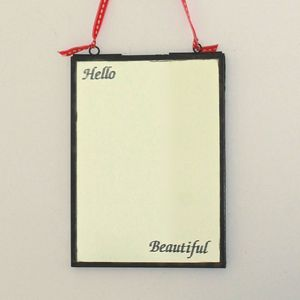 Vintage Hanging 'Hello Beautiful' Mirror - bedroom