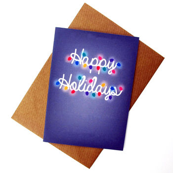 Happy Holidays Christmas Lights Card
