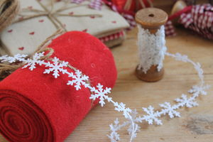 Wooden Spool Snowflake Garland Ribbon - christmas