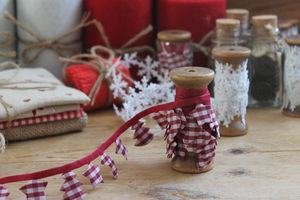 Wooden Spool Christmas Garland Ribbon - christmas