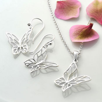 Silver Butterfly Jewellery Set