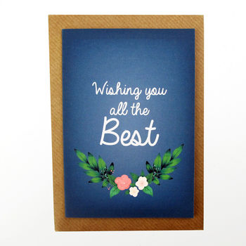 Wishing You The Best Floral Illustrated Card