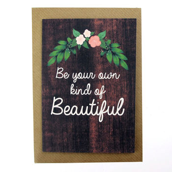 Hand Illustrated Floral Wood Grain Quote Card