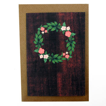 Hand Illustrated Floral Wreath Wood Effect Card