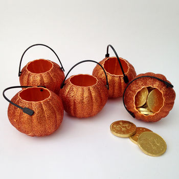 Glitter Pumpkin Mini Bucket