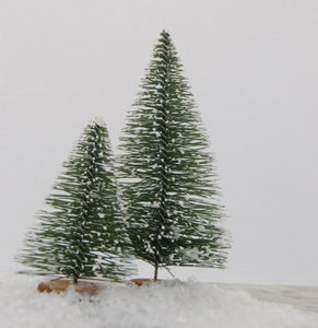Set Of Two Snowy Bottle Brush Christmas Trees