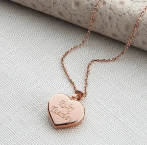 Personalised Rose Gold Heart Pendant Necklace - gifts for her