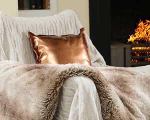 Copper Cushion - cosy nordic living room