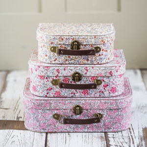 Vintage Floral Set Of Three Mini Suitcases - toy boxes