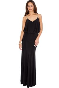 Classic Maxi Dress With Gold Chain Detail On Shoulder - dresses