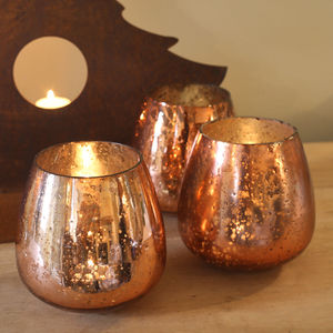 Copper Coloured Glass Tea Light Holder