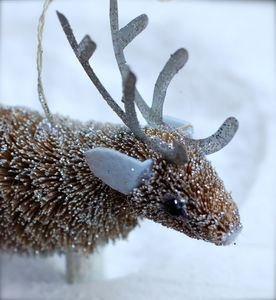 Sparkling Bristle Reindeer Christmas Decoration