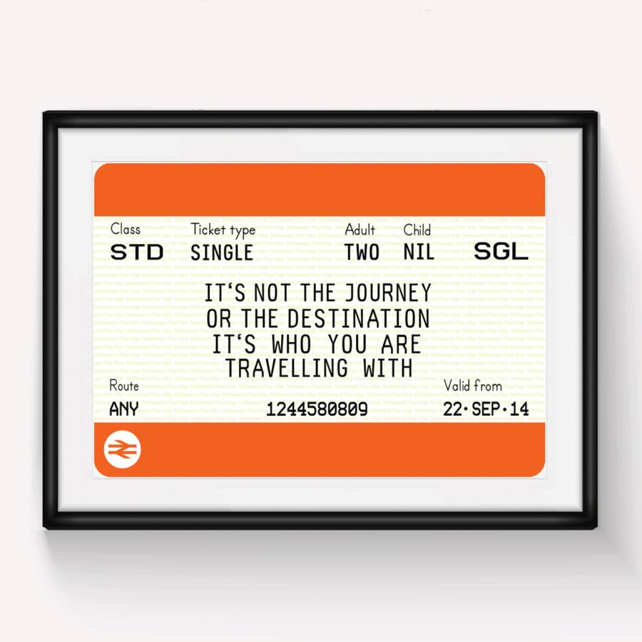 Irish Love Quotes Wedding Personalised Train Ticket Printof Life & Lemons