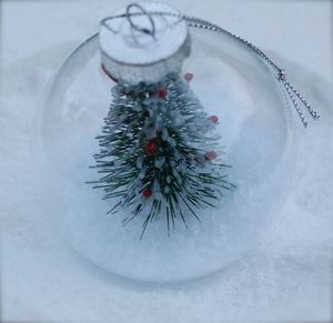 Glass Christmas Tree Bauble With Snow And Tree