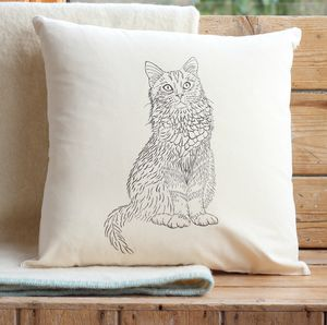 Cat Print Cushion Cover With Inner Option - cushions