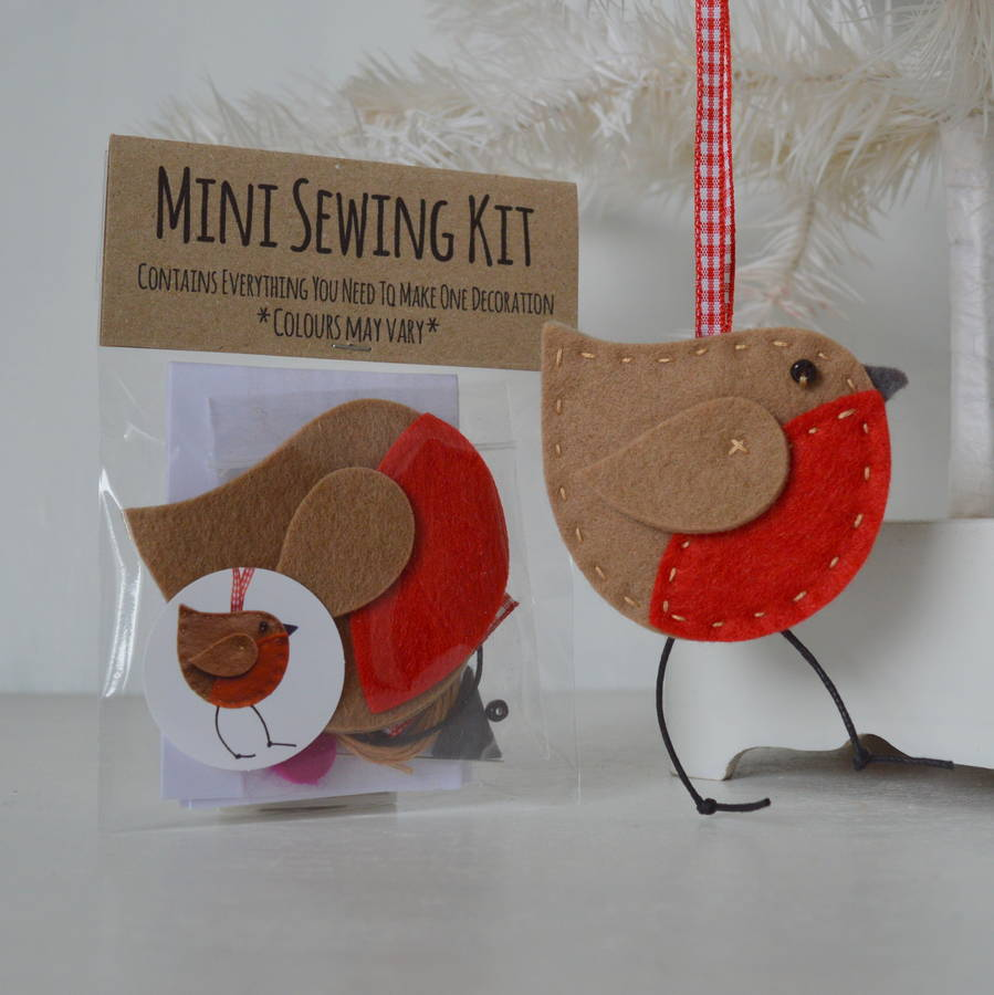 Christmas robin decoration mini sewing kit by fibrespace ...