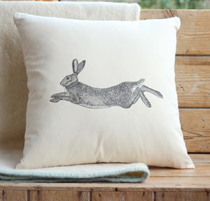 Hare Print Cushion Cover - bedroom