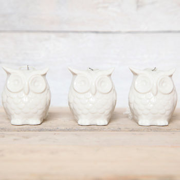 Glazed Ceramic Owl Hanging Decoration